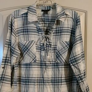 Style & co lace up front pullover plaid flannel